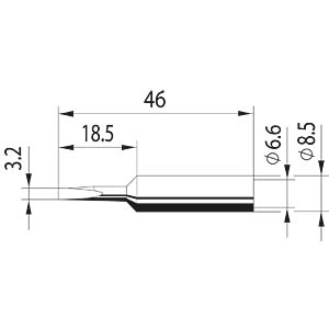 Tip, chisel-shaped, ERSADUR, 3.2 mm ERSA 0832EDLF/10