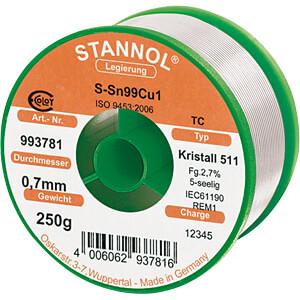 Lötzinn bleifrei mit Kupferanteil,Ø 0,7 mm, 250 g STANNOL 810865