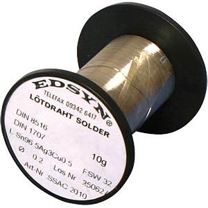 Soldeerdraad, loodvrij, 0,2mm, Sn 96,5 Ag Cu0,5 10gr EDSYN SSAC 2010