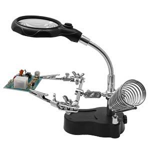 Platinenhalter, mit LED Lupe, Schwanenhals, helfende Hand DONAU HH3
