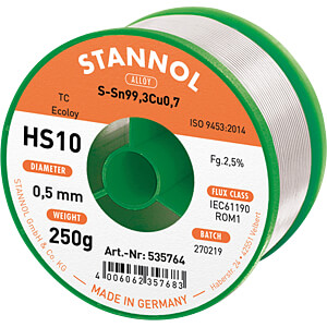 Lötzinn HS10 bleifrei mit Kupferanteil,Ø 0,5 mm, 250 g STANNOL 53609