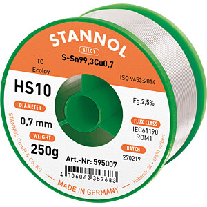 Lötzinn HS10 bleifrei mit Kupferanteil,Ø 0,7 mm, 250 g STANNOL 54288