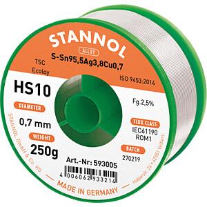 Lötzinn HS10 bleifrei mit Silber- und Kupferanteil,Ø 0,7 mm, 250 STANNOL 54053