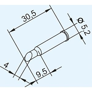 Soldering tip for ERSA i-TOOL, angled / 4 mm ERSA 102ADLF40/SB