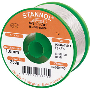 Lötzinn bleifrei mit Kupferanteil,Ø 1,0 mm, 250 g STANNOL 810866