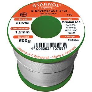 Kristall 511 TSC Sn95 Sn95 Ag4 Cu1, 1,0 mm Ø 250 g STANNOL 810837