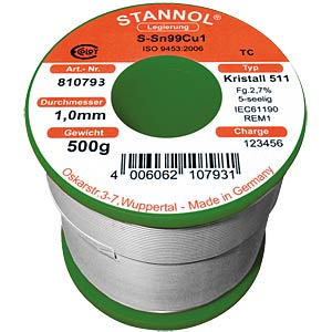 Crystal 511 TC Sn99 Cu1, 0.50 mm Ø 250 g STANNOL 810791