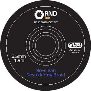 No-Clean Desoldering Braid, 2,5 mm x 1,5 m RND LAB 560-00197