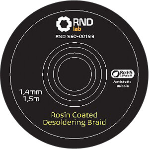 Rosin Coated Desoldering Braid, 1,4 mm x 1,5 m RND LAB 560-00199