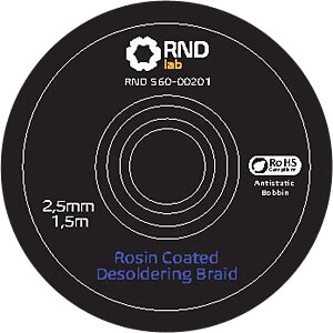 Rosin Coated Desoldering Braid, 2,5 mm x 1,5 m RND LAB 560-00201