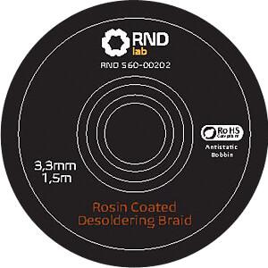 Rosin Coated Desoldering Braid, 1,5 m x 3,3 mm RND LAB 560-00202