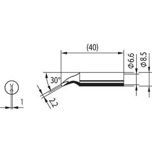 Lötspitze 0842JD, 2,2 mm, meißelförmig, gebogen ERSA 0842JD