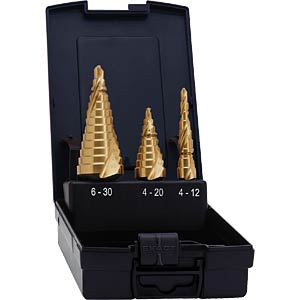 Step drill bit set, 4-12/4-20/6-30 TiN EXACT 07014