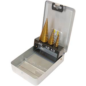 Three-piece HSS step drill bit set FREI
