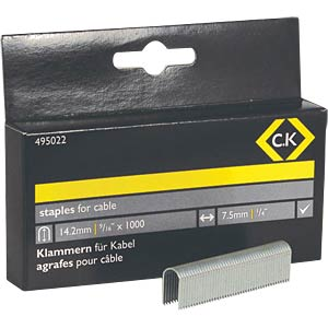 Staples 7.5 x 14 mm, half-round, 1000 pieces C.K 495022