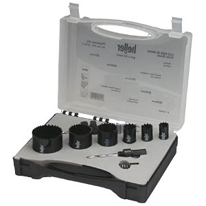 Hole saw set, 9-piece, Ø 19/22/35/68/70/76 mm HELLER 23413
