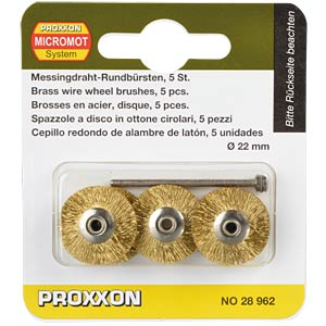 Brass brushes, wheel shape, 5 pieces PROXXON 28962