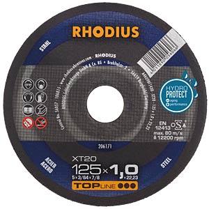 Trennscheibe, Stahl, 115 mm, 1 mm, XT20, 22,23 mm RHODIUS 206170