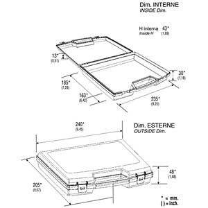 Koffer, Polypropylen, 240x48x205 mm RND LAB RND 550-00076