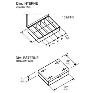 Sortimentskasten, 550-00100, 165 x 31 x 112 mm, 10 Fächer RND LAB RND 550-00100