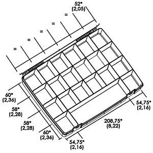 Sortimentskasten, 550-00103, 325 x 52 x 255 mm, 21 Fächer RND LAB RND 550-00103