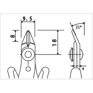 Seitenschneider, 21° gebogen, abgerundet, 132 mm RND LAB RND 550-00049