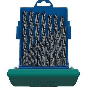 HSS steel drill bit set,1-10 mm,19-piece HELLER 17737