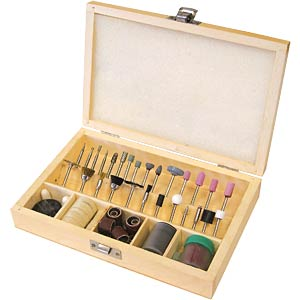 Cutting, grinding and polishing set in wooden box, 100 pieces FREI