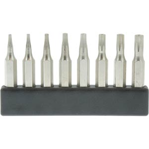 4-mm mini bit set, TX with hole, 8 pieces DONAU MBS68