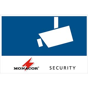 SECURITY label, adhesive on back, 120 x 80 mm MONACOR CCTV-LABL/OS