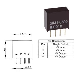 SIM1-0515 SIL4 - DC/DC-Wandler, SIL 4, 1 W, in 5 V/out 15 V