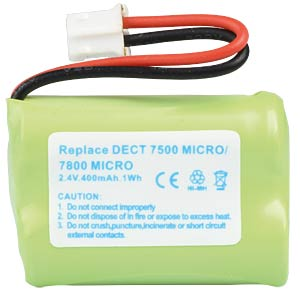 Cordless phone battery, NiMH, 2,4 V, 400 mAh FREI