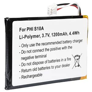 Cordless phone battery, Li-Pol 3,7 V, 1200 mAh FREI
