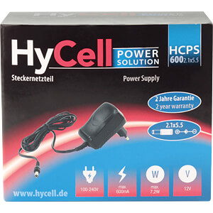 Power supply, 7,2 W, 12 V, 0,6 A, fixed voltage, 2,1 mm DC HYCELL 1201-0014