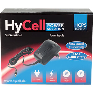 Steckernetzteil, 18 W, 12 V, 1,5 A, stabilisiert, 2,1 mm DC HYCELL 1201-0018