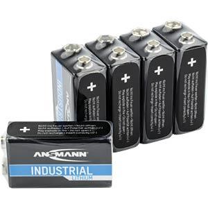 Lithium Zelle, 9-V-Block, 1100 mAh, 5er-Pack ANSMANN 1505-0002
