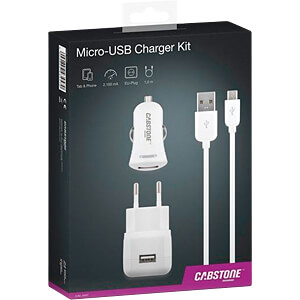 USB-Ladegerät, 5 V, 2100 mA, Kfz + Netz CABSTONE 43457
