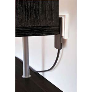 Innovative space-saving lever power strip, black EVOLINE 8084