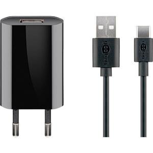 USB-Ladegerät, 5 V, 1 A, USB-C, schwarz GOOBAY 45293