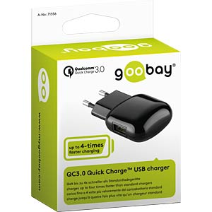 QC3.0 Quick Charge USB charger, 2000 mA GOOBAY 71556