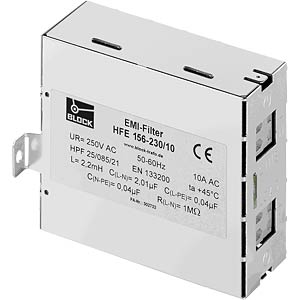 Radio interference suppression filter HFE 156 230 V/10 A BLOCK TRANSFORMATOREN HFE 156-230-10