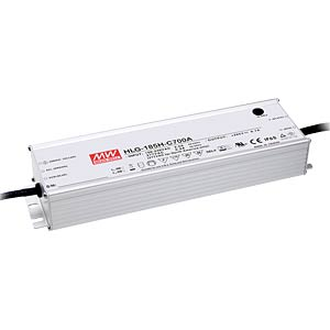 LED power supply, IP65, 200 W, 71 - 143 V/1400 mA MEANWELL HLG-185H-C1400A