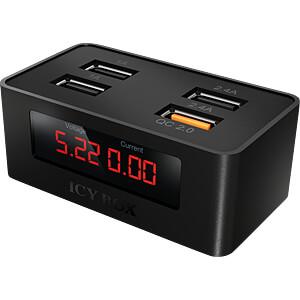 USB charger, QC 2.0, digital display, black ICYBOX IB-CH403