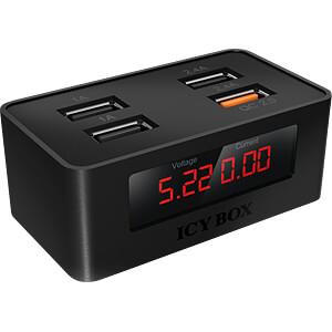 Chargeur USB, QC 2.0, affichage numérique, noir ICYBOX IB-CH403