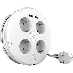 Verlängerungskabel 2 x USB-A + 4 x Steckdosen,  weiß ICYBOX IB-CB012