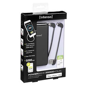 Intenso Powerbank, 5000 mAh, Slim, sw, iDual INTENSO 7335520