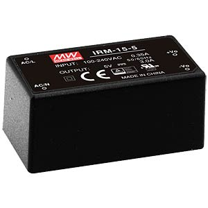 SNT Modul, 15 W, 5 V, 3 A MEANWELL IRM-15-5