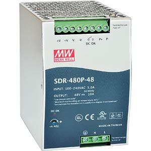 switching power supply, DIN-Schiene, 480 W, 48 V / 10 A MEANWELL SDR-480P-48