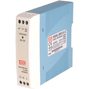 Switching power supply, DIN mounting, 10 W / 24 V / 0.42 A MEANWELL MDR-10-24