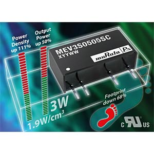 DC/DC converter MEV3 series 3 W, 9 V DC, SIP, single MURATA POWER SOLUTIONS MEV3S1209SC